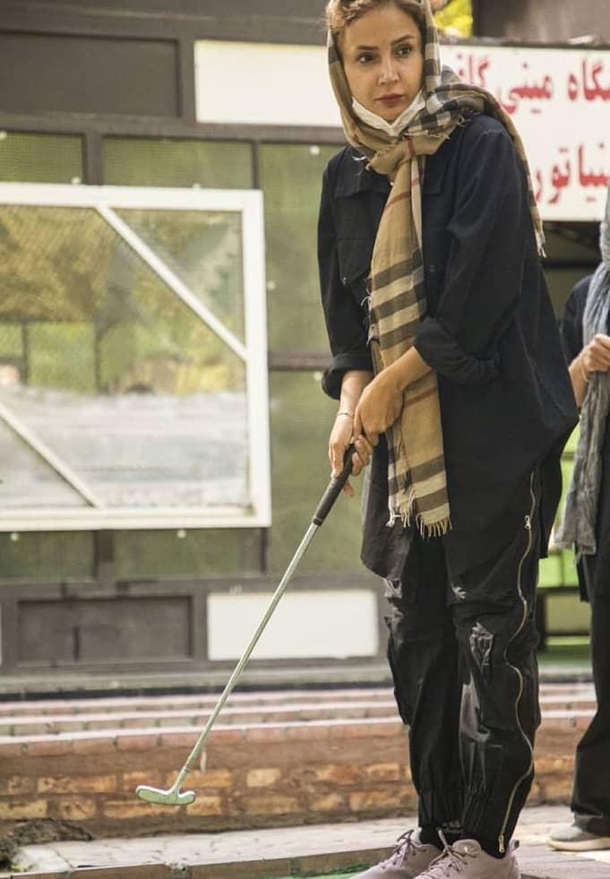 تمرکز شبنم قلی خانی روی بازی گلف /عکس