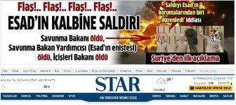 ذوق زدگی سایت خبری استار ترکیه از ترور وزیر دفاع سوریه