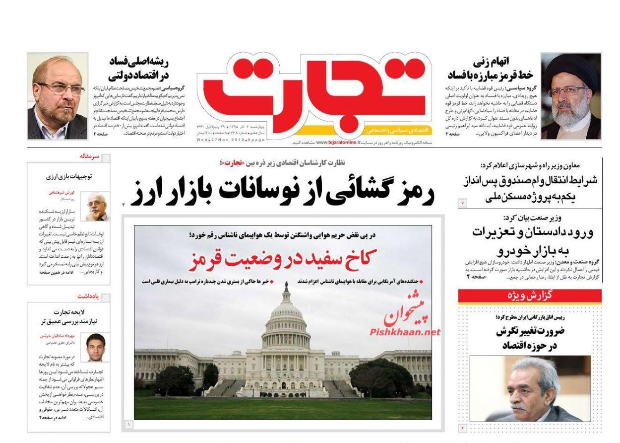 صفحه نخست روزنامههای اقتصادی ۶ آذر ماه