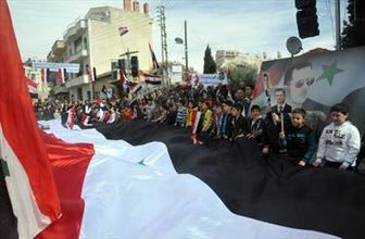 تظاهرات سوری ها در حمایت از ارتش و اسد