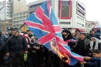 پرچم آمریکا، انگلیس و رژیم صهیونیستی در خشم ملت ایران سوخت
