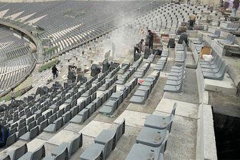 بازسازی جایگاه ویژه ورزشگاه آزادی قبل از دربی