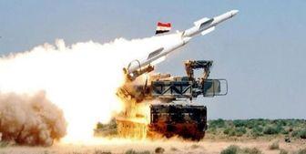 مقابله پدافند هوایی ارتش سوریه با پهپاد متجاوز