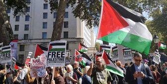 تظاهرات حامیان فلسطین علیه سفر «نتانیاهو» به لندن