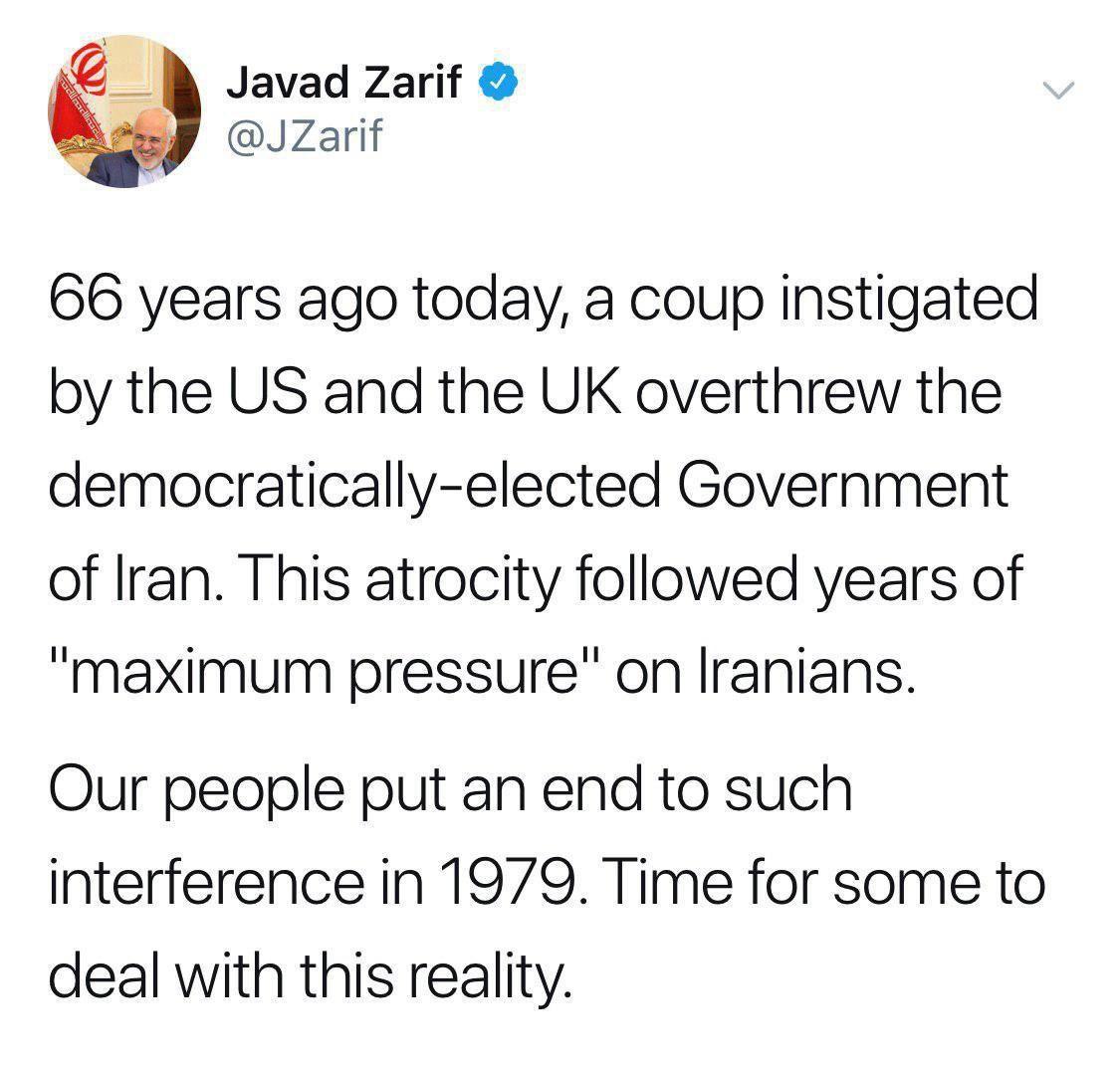 واکنش توئیتری ظریف به ۶۶امین سالروز کودتای ۲۸ مرداد