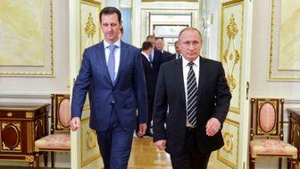 عکس یادگاری پوتین و بشار اسد در کنار خلبانان روس