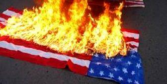 پرچم آمریکا و رژیم صهیونیستی در خشم انقلابی راهپیمایان تهرانی سوخت