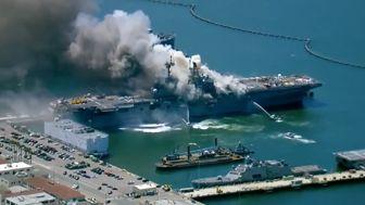 ادامه آتشسوزی در ناو آمریکایی