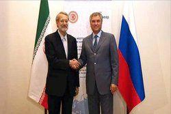 دیدار لاریجانی با رئیس دومای دولتی فدراسیون روسیه