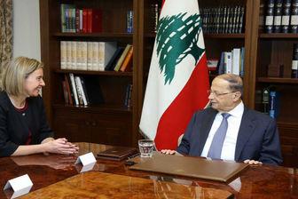 دیدار موگرینی با رئیس جمهور لبنان