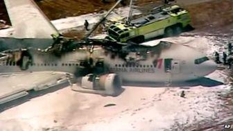 سقوط بدون تلفات جانی بوئینگ ۷۷۷ در فرودگاه سانفرانسیسکو