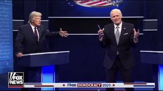 مناظره طنز جو بایدن و دونالد ترامپ با هنرنمایی جیم کری + فیلم