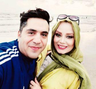 ست فیروزهای خانم مجری و همسرش در دل طبیعت /عکس