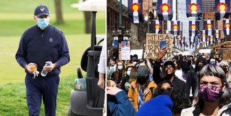 گلفبازی رئیس جمهور آمریکا در اوج اعتراضات داخلی