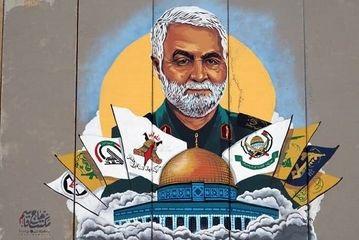 نقاشی حاج قاسم سلیمانی در مرز لبان و فلسطین/ گزارش تصویری