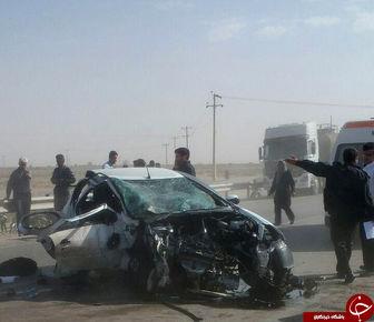 برخورد مرگبار دو خودروی سواری + تصاویر