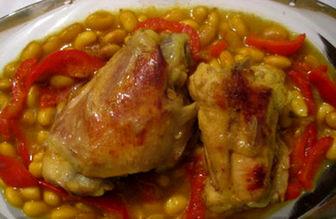 طرز تهیه خورش عربی فاصولیا با مرغ